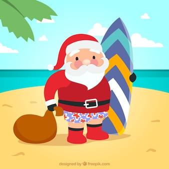 Santa claus with a surfboard illustration