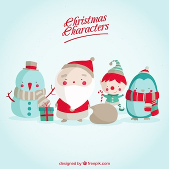 Santa claus with lovely christmas characters