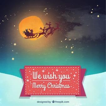 Santa claus's sledge flying background