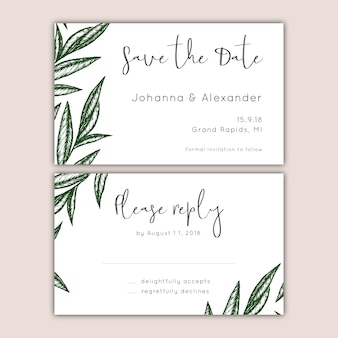 Save the date and rsvp cards set