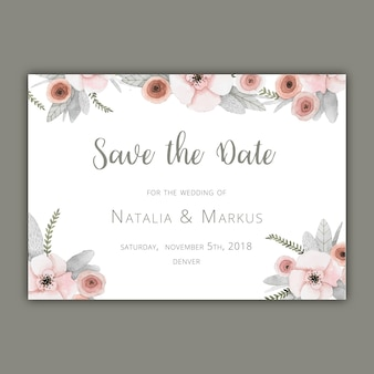 Save the date card template with pastel flowers