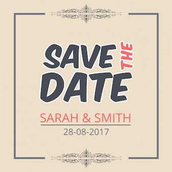 Save the date template with creative lettering