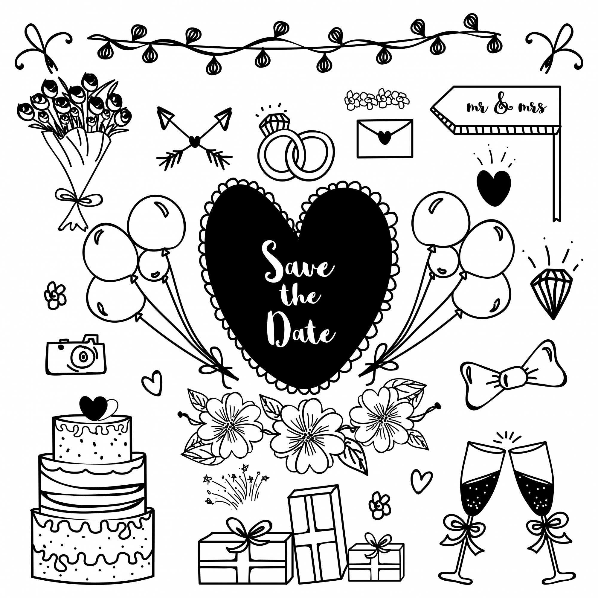 Save the Date, Wedding hand drawn doodle elements.