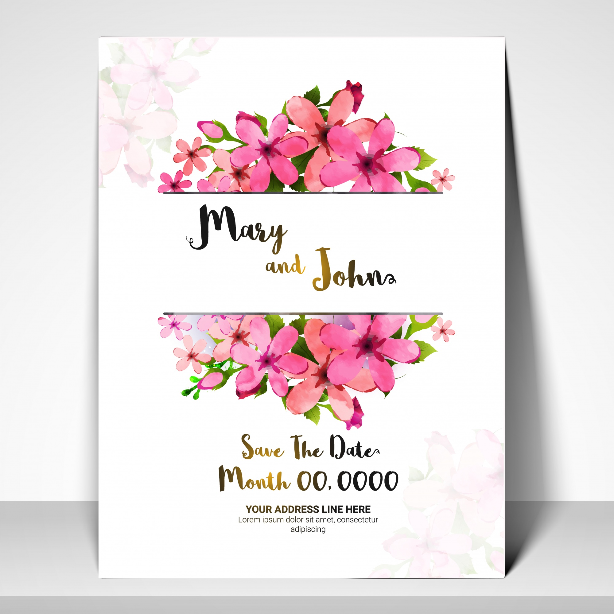 Save the Date, Wedding Invitation Card with pink flowers.