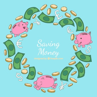 Saving money background with cute piggybanks