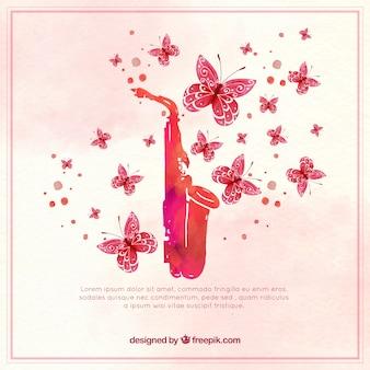 水彩蝶とサックス背景