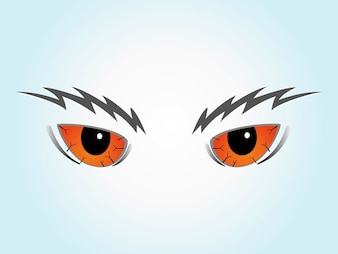 Scary cartoon evil eyebrows vector