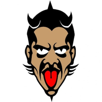 Scary devil face vector illustration
