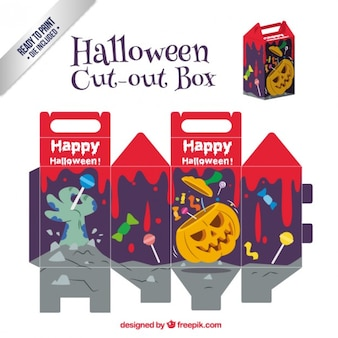 Scary halloween cut out box