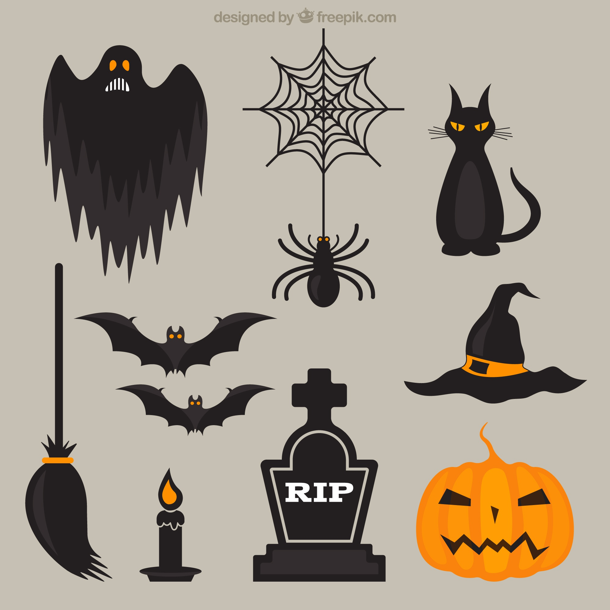 Scary halloween elements