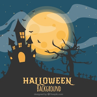 Scary halloween landscape background