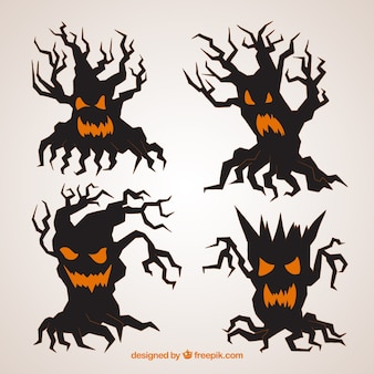 Scary halloween trees