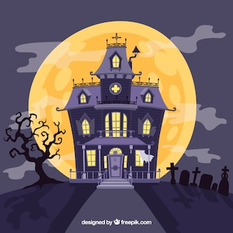 Scary house with hand drawn style