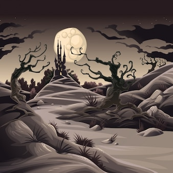 Scary landscape background