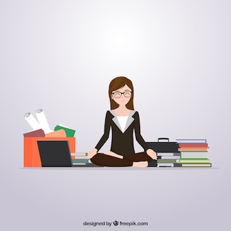 Scene of business woman meditating before work
