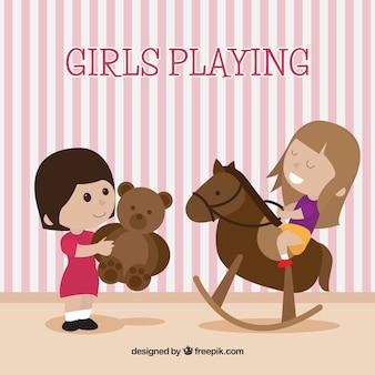 Scene of cute girls playing