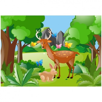 Scene of deer and rabbit in the forest