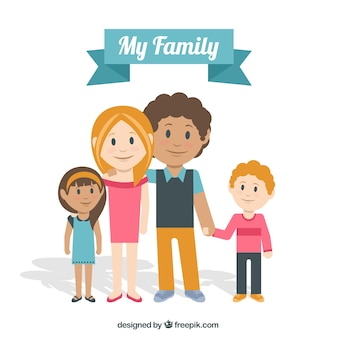 Scene of fantastic family in flat design