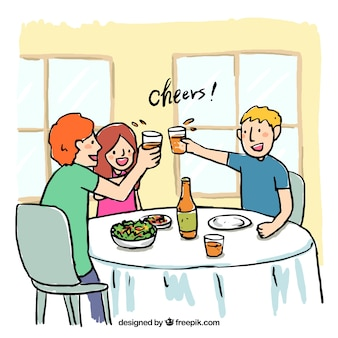 Scene of friends toasting in a restaurant