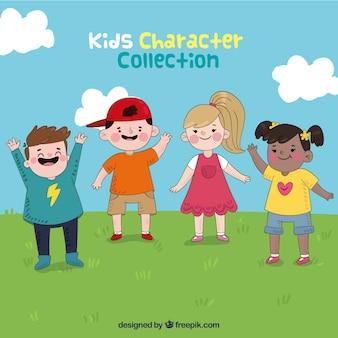 Scene of hand drawn cheerful children
