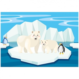 Scene of polar bears and penguins on an iceberg
