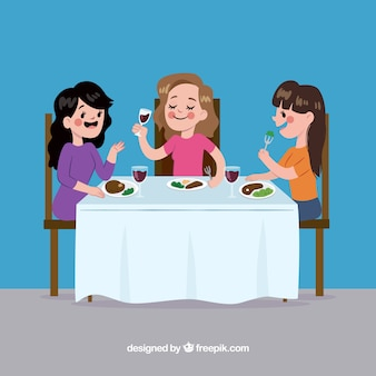レストランで食べる女性の場面