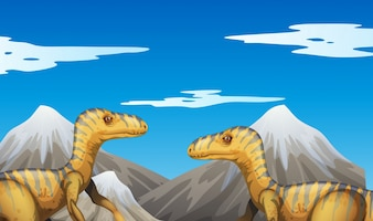 Scene with dinosaurs and mountains illustration