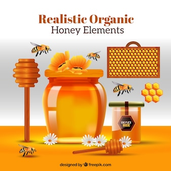 Scene with tools for honey, realistic style