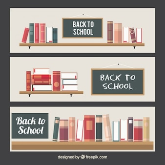 School background of shelves with books