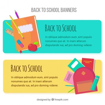 School banners with elements for subjects