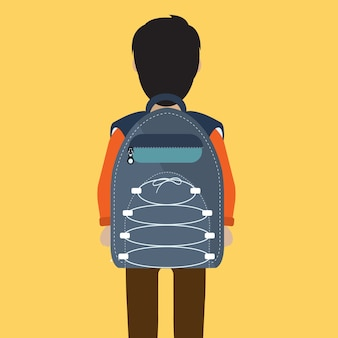 School boy with bag pack