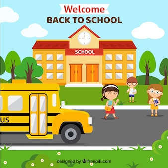 School bus background and school facade