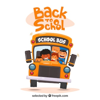 School bus with kids illustration