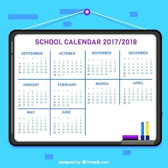 School calendar 2017- 2018 in flat design