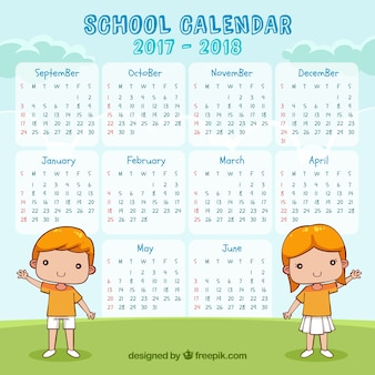 School calendar 2017-2018 with children greeting