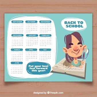 School calendar 2017, light blue