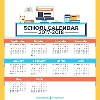 School calendar, blue, red and yellow