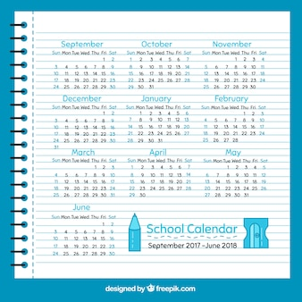 School calendar sheet of notebook in flat design