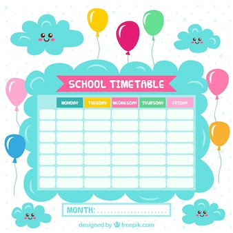 School calendar with clouds and balloons