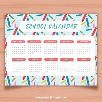 School calendar with colored pencils