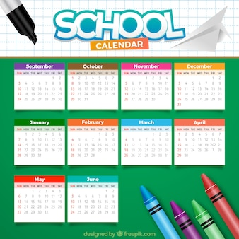 School calendar with colored waxes