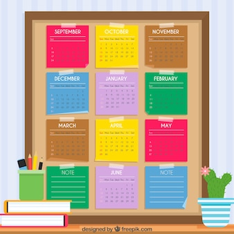School calendar with colorful post its