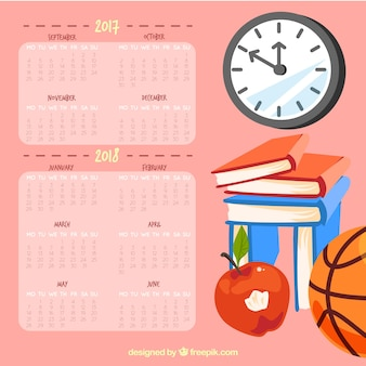 School calendar with different elements of the school