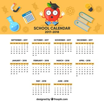 School calendar with fun apple and materials