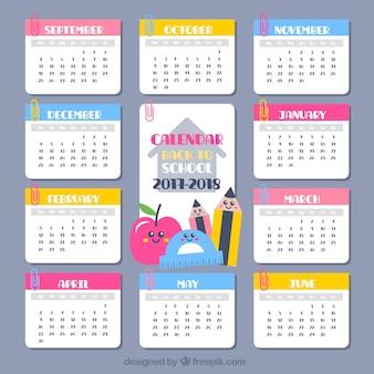 School calendar with nice characters