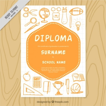 School diploma template with sketches