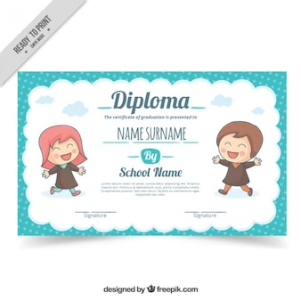 School diploma with lovely children