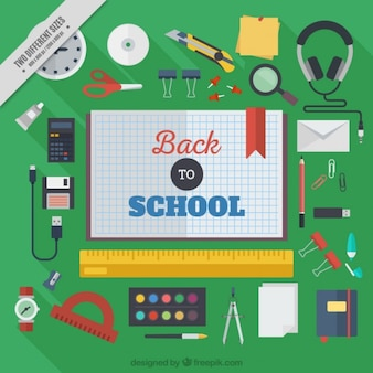 School materials background in flat design