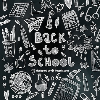 School materials drawn with chalk