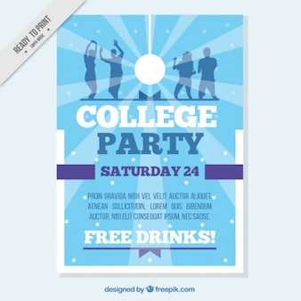 School party poster in blue tones